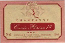 Etiquette Champagne BRUT Cuvée Florian 1er / FIGUET Et Fils à SAULCHERY / 750 Ml (Renard Mangeant Les Raisins) - Champagne