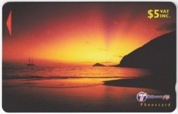 FIJI A-147 Magnetic Telecom - Landscape, Coast, Sunset - 32FJC - Used - Figi