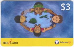 FIJI A-156 Prepaid Telecom - Painting, People, Children - Used - Figi