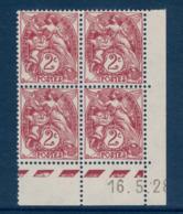TIMBRE TYPE BLANC N° 108 En BLOC DE 4 TIMBRES NEUFS ** COIN DATÉ Du 16.5.28 (1928) - 1900-29 Blanc