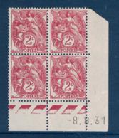 TIMBRE TYPE BLANC N° 108 En BLOC DE 4 TIMBRES NEUFS ** COIN DATÉ Du 8.8.31 (1931) - 1900-29 Blanc