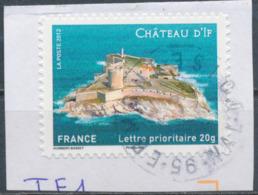 France - Châteaux Et Demeures (If) YT A722 Obl. Cachet Rond Manuel Sur Fragment - Francia