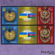 Ukraine 2008 Mi.991-992Zf. Azerbaijan 2008 Mi.733-734Zf.Jewellery, Azerbaijan-Ukrainian Joint Issue./2 Strip (MNH **) - Ucraina