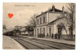 03287-LE-54-FONTENOY-sur-MOSELLE-La Gare---------------animée-train - Autres Communes