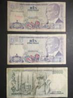Billets - Turquie - Lot De 3 Billets 1000 Et 10000 Bankasi - - Turkije