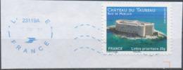 France - Châteaux Et Demeures (Morlaix) YT A725 Obl. Ondulations Et Dateur Rond Bleu Sur Fragment - Francia