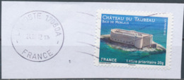 France - Châteaux Et Demeures (Morlaix) YT A725 Obl. Ondulations Et Dateur Rond Sur Fragment - Francia