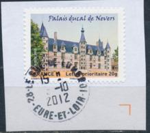 France - Châteaux Et Demeures II (Nevers) YT A726 Obl. Cachet Rond Manuel Sur Fragment - Francia