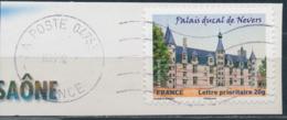 France - Châteaux Et Demeures II (Nevers) YT A726 Obl. Ondulations Et Dateur Rond Sur Fragment - Francia