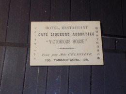 "CDV JAPON. HOTEL RESTAURANT ""VICTORIOUS HOUSE"" Quartier YAMASHITACHO à YOKOHAMA - Visitekaartjes"
