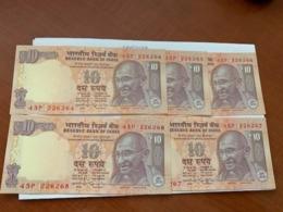 India 10 Rupees Gandhi Banknote 2015 Unc. Lot Of 5 - India