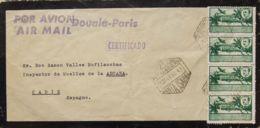 España. Guinea. Sobre 300(4). 1952. 1 Pts Verde, Cuatro Sellos. Correo Aéreo De SANTA ISABEL A CADIZ. En El Frente Marca - Guinea Espagnole
