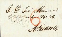 España. Murcia. Prefilatelia. Sobre . 1840. DOLORES A ALICANTE. Marca AA / MURCIA, En Negro De Albatera (P.E.2) Edición - ...-1850 Vorphilatelie