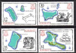 Kiribati 1981 Island Maps I Set Of 4, MNH, SG 145/8 (BP2) - Kiribati (1979-...)