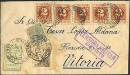 España. Fiscal. Sobre 815(5), 816. 1937. 2 Cts. Castaño, Cinco Sellos, 5 Cts. Sepia Y Sellos. RIOTINTO A VITORIA. MAGNIF - Fiscales