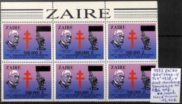 [106966]TB//**/Mnh-Zaïre 1992 - N° 1440-var, N° 1358-var (yvert), BD6 Dont Surcharge Baveuse, Koch (tuberculose), Scienc - Sciences