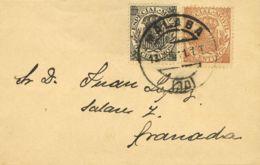 España. Fiscal. Sobre Fis 24, 25. 1901. 5 Cts Negro Y 10 Cts Castaño MOVILES. MALAGA A GRANADA. MAGNIFICA Y RARA. - Fiscales