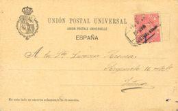 España. Fiscal. Sobre Fis 11. 1887. 10 Cts Rosa MOVIL. Tarjeta De Correo Interior De BILBAO. MAGNIFICA Y RARA. - Fiscales