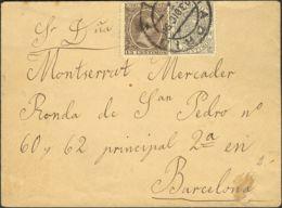 España. Fiscal. Sobre 219, Fis 18. 1898. 10 Cts MOVIL, 15 Cts. MADRID A BARCELONA. MAGNIFICA Y RARA. - Fiscales