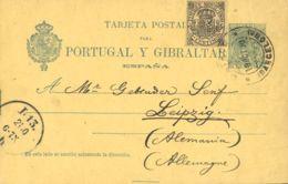 España. Fiscal. Sobre EP34, Fis. 1900. 5 Cts MOVIL Y 5 Cts Tarjeta Entero Postal De BARCELONA A ALEMANIA. MAGNIFICA Y RA - Fiscales