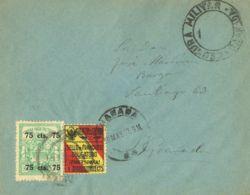 España. Fiscal. Sobre Fis 19. 1937. 75 Cts FACTURAS. Correo Interior De GRANADA. Al Dorso Llegada. MAGNIFICA. - Fiscales