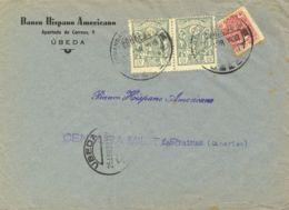 España. Fiscal. Sobre Fis 65, 15(2). 1939. 10 Cts MOVIL, 15 Cts, Pareja FACTURAS. UBEDA A LAS PALMAS. MAGNIFICA. - Fiscales