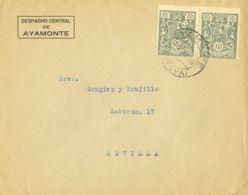 España. Fiscal. Sobre Fis 15(2). 1936. 15 Cts, Pareja FACTURAS. AYAMONTE A SEVILLA. Al Dorso Llegada. MAGNIFICA. - Fiscales