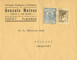 España. Fiscal. Sobre Fis 3. 1937. 25 Cts Azul FACTURAS. PLASENCIA A HERNANI. Al Dorso Llegada. MAGNIFICO Y ESPECTACULAR - Fiscales