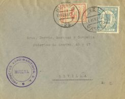 España. Fiscal. Sobre Fis 19. 1937. 30 Cts Verde EFECTOS DE COMERCIO. HUELVA A SEVILLA. MAGNIFICA Y RARA. - Fiscales