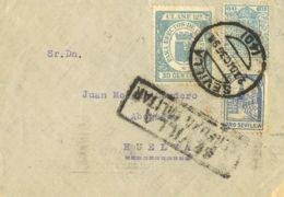 España. Fiscal. Sobre Fis 37, 19. 1936. 60 Cts MOVIL, 30 Cts EFECTOS DE COMERCIO. SEVILLA A HUELVA. Al Dorso Llegada. MA - Fiscales