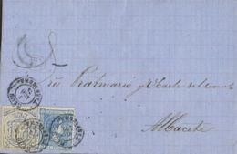 España. Fiscal. Sobre 164, Fis 1. 1875. 10 Cts Y 5 Cts IMPUESTO DE VENTA. REUS A ALBACETE. MAGNIFICA Y RARO USO DE UN SE - Fiscales