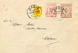 España. Fiscal. Sobre Fis 13, 28. 1937. 10 Cts Y 20 Cts, CHEQUES. CADIZ A CACERES. Al Dorso Llegada. MAGNIFICA. - Fiscales