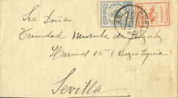 España. Fiscal. Sobre Fis 15. 1937. 30 Cts Azul CHEQUES. HUELVA A SEVILLA. Al Dorso Llegada. MAGNIFICA. - Fiscales