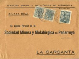 España. Fiscal. Sobre 870, Fis 103(2). 1939. 15 Cts Verde, Pareja MOVIL Y 40 Cts Verde. CORDOBA A LA GARGANTA. Al Dorso - Fiscales