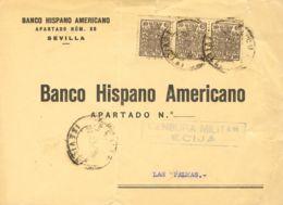 España. Fiscal. Sobre Fis 88(3). 1937. 10 Cts Castaño, Tira De Tres MOVIL. ECIJA A LAS PALMAS. MAGNIFICA. - Fiscales