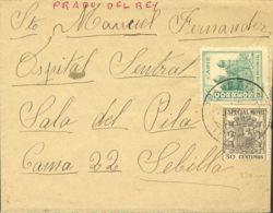 España. Fiscal. Sobre Fis 54. 1936. 30 Cts Negro MOVIL. PRADO DEL REY A SEVILLA. Al Dorso Censura. MAGNIFICA. - Fiscales