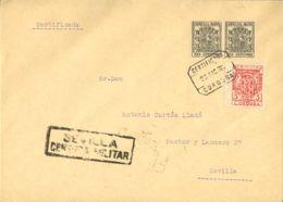 España. Fiscal. Sobre Fis 54(2). 1936. 30 Cts Negro, Pareja, MOVILES. Cetificado De CORDOBA A SEVILLA. Al Dorso Llegada. - Fiscales