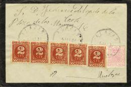 España. Fiscal. Sobre Fis 33(4). 1937. 20 Cts MOVIL Y 2 Cts Castaño, Cinco Sellos. ALAJAS A HUELVA. MAGNIFICA. - Fiscales