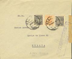 España. Fiscal. Sobre . 1938. 35 Cts Naranja MOVIL. ARACENA A HUELVA. MAGNIFICA Y NO CATALOGADO. - Fiscales