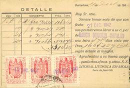 España. Fiscal. Sobre . 1942. 25 Cts Rojo, Tira De Tres Sellos FACTURAS Y RECIBOS. Tarjeta Postal De BARCELONA A MADRID. - Fiscales
