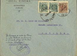 "España. Fiscal. Sobre . 1943. 15 Cts Castaño Y 15 Cts Verde, Pareja MOVILES. BONARES A SEVILLA. Manuscrito ""Franqueada C - Fiscales"