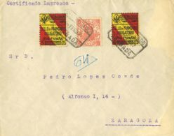 España. Fiscal. Sobre . 1937. 50 Cts Rojo MOVIL. Certificado De GRANADA A ZARAGOZA. Al Dorso Llegada. MAGNIFICA. - Fiscales