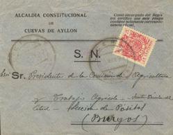España. Fiscal. Sobre 68. 1937. 25 Cts Carmín MOVIL. LICERAS A BURGOS. MAGNIFICA. - Fiscales