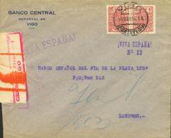 España. Fiscal. Sobre Fis 91(2). 1935. 25 Cts Rosa, Pareja, Móvil. VIGO A LONDRES. MAGNIFICO. - Fiscales
