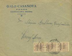España. Fiscal. Sobre Fis 41(3). 1931. 10 Cts Castaño, Tira Vertical De Tres, MOVIL. SANTACARA A PAMPLONA. MAGNIFICA. - Fiscales