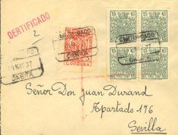 España. Fiscal. Sobre Fis 89(4). 1937. 15 Cts Verde, Bloque De Cuatro Móvil Y 5 Cts Sello Local CORDOBA. Certificado De - Fiscales