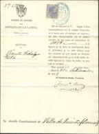 España. Fiscal. Sobre . 1883. 10 Cts Lila FISCAL. Documento Del Registro De Quintos De MADRID A ORENSE. MAGNIFICO Y RARO - Fiscales