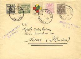 España. Fiscal. Sobre Fis 29, 32. 1938. 10 Cts Y 20 Cts MOVILES Y 10 Cts, Tres Sellos Benéficos. ALAJAR A NERVA. MAGNIFI - Fiscales