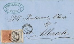 España. Fiscal. Sobre 153. 1875. 10 Cts Castaño Y 5 Cts IMPUESTO DE VENTAS. REUS A ALBACETE. MAGNIFICA Y RARO USO DE SEL - Fiscales