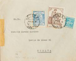 España. Fiscal. Sobre 3. 1936. 25 Cts Azul, 15 Cts Castaño Y 15 Cts Azul De Telégrafos. ARACENA A HUELVA. MAGNIFICA Y RA - Fiscales